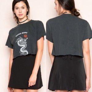 Brandy Melville black wrap mini skirt